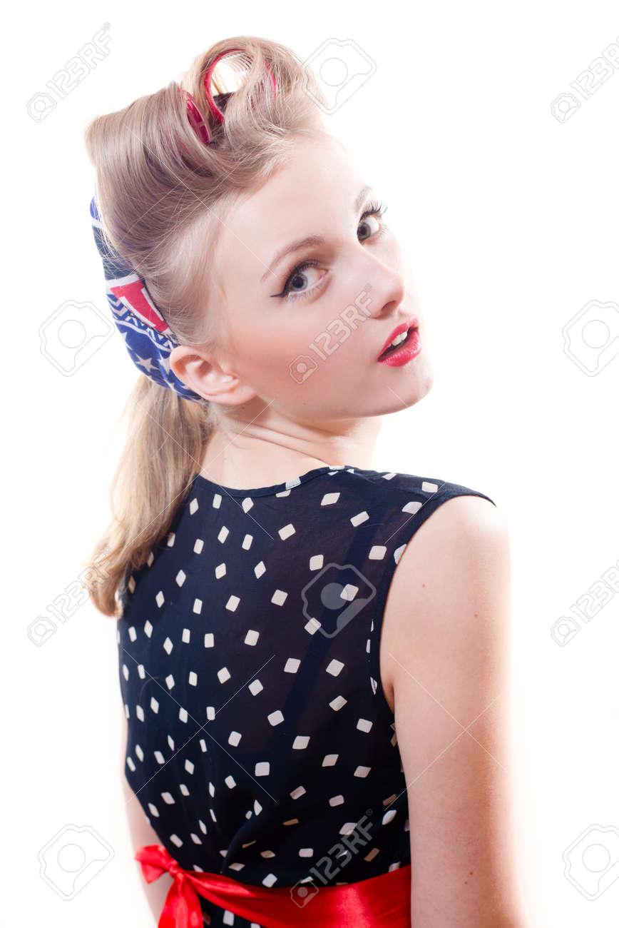 Chica Linda Divertida Mujer Joven Pinup Rubia Con Rulos Mirando ...