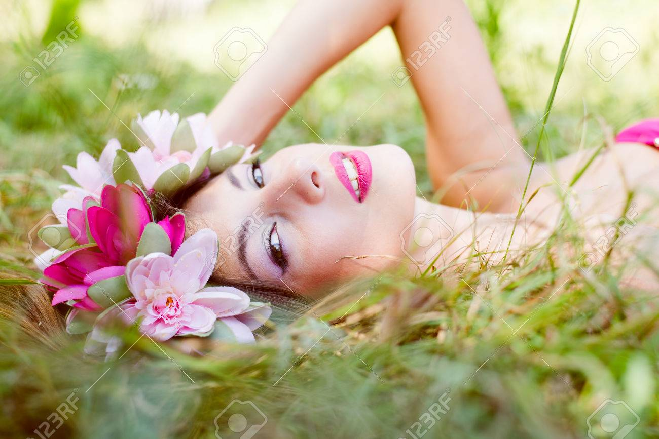 Image Of Young Pretty Lady Fairy Princess With Flowers Crown Stock