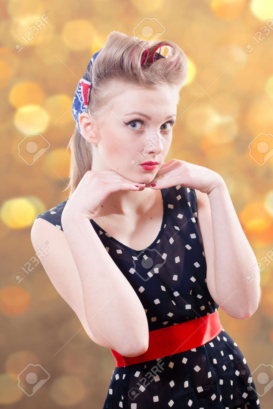 Beautiful Young Blond Pin Up Female With Retro Hairdo In Stylish