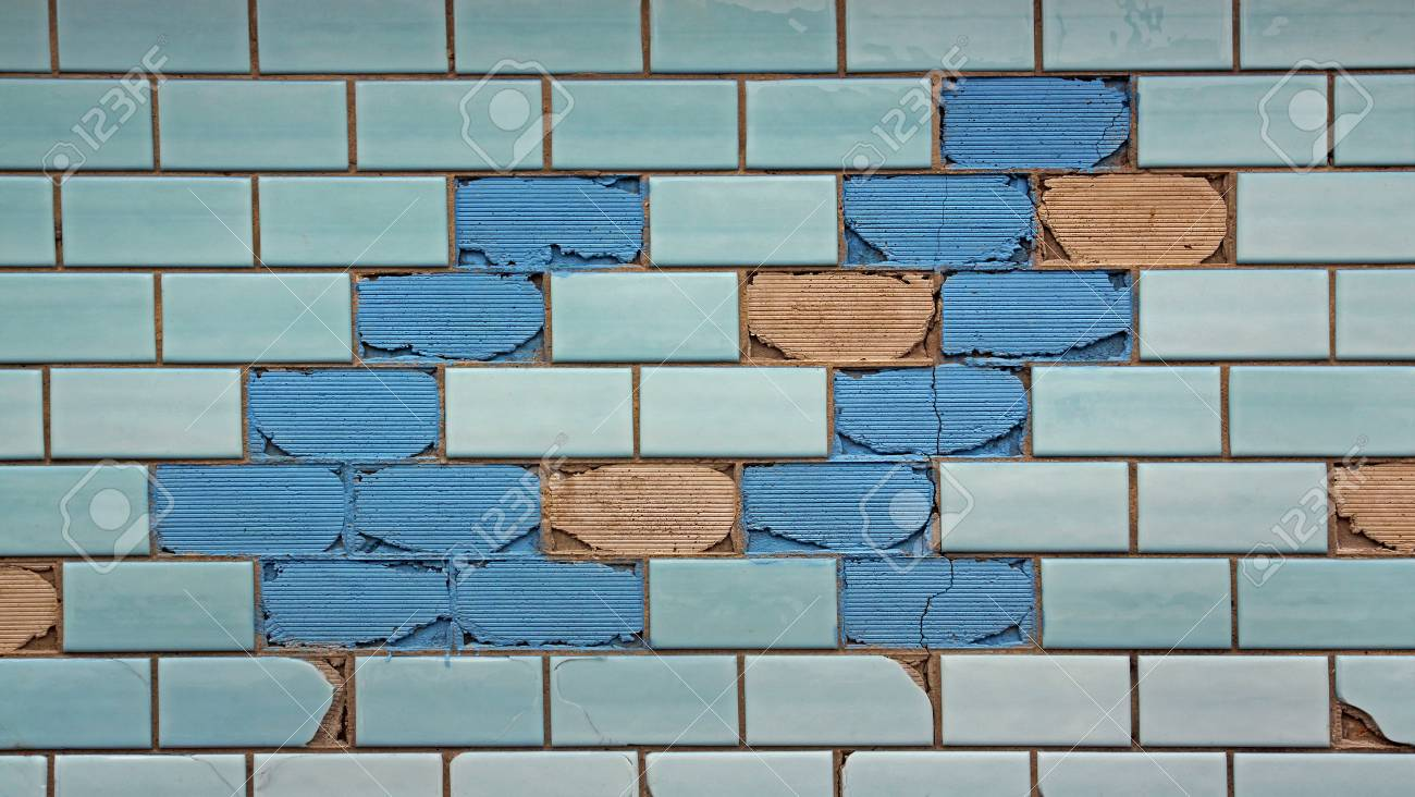 Partially Destroyed Blue Tiles On The Wall Stock Photo, Picture And ...