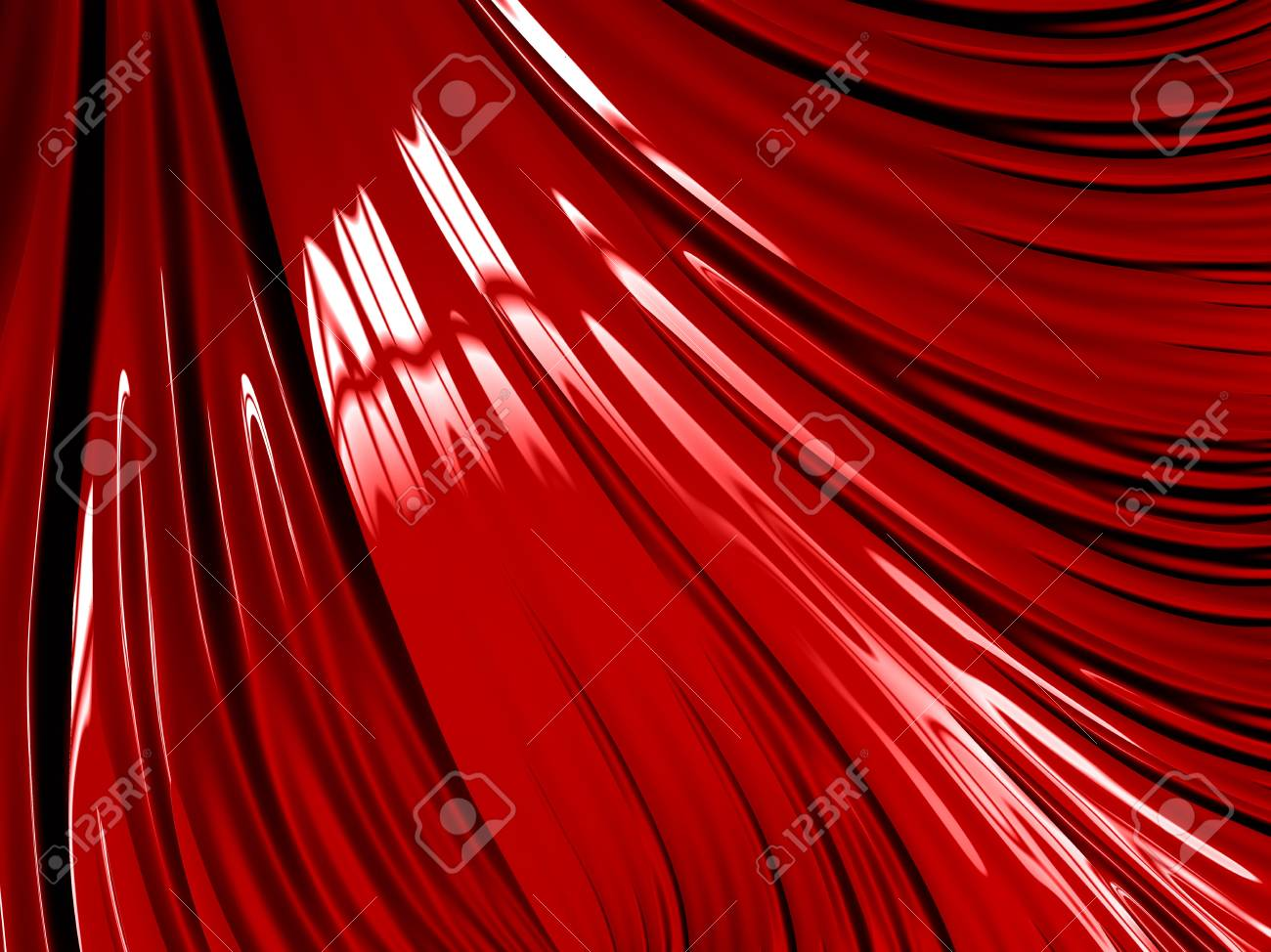 Digitally Created Fractal In Liquid Effect Deep Metallic Red Ideal For Wallpaper Background Stock Photo