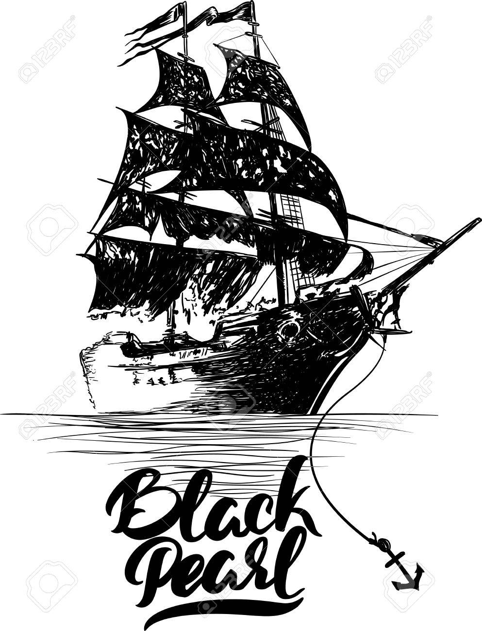 Pirate ship - hand drawn vector illustration, Black pearl lettering. - 61485801
