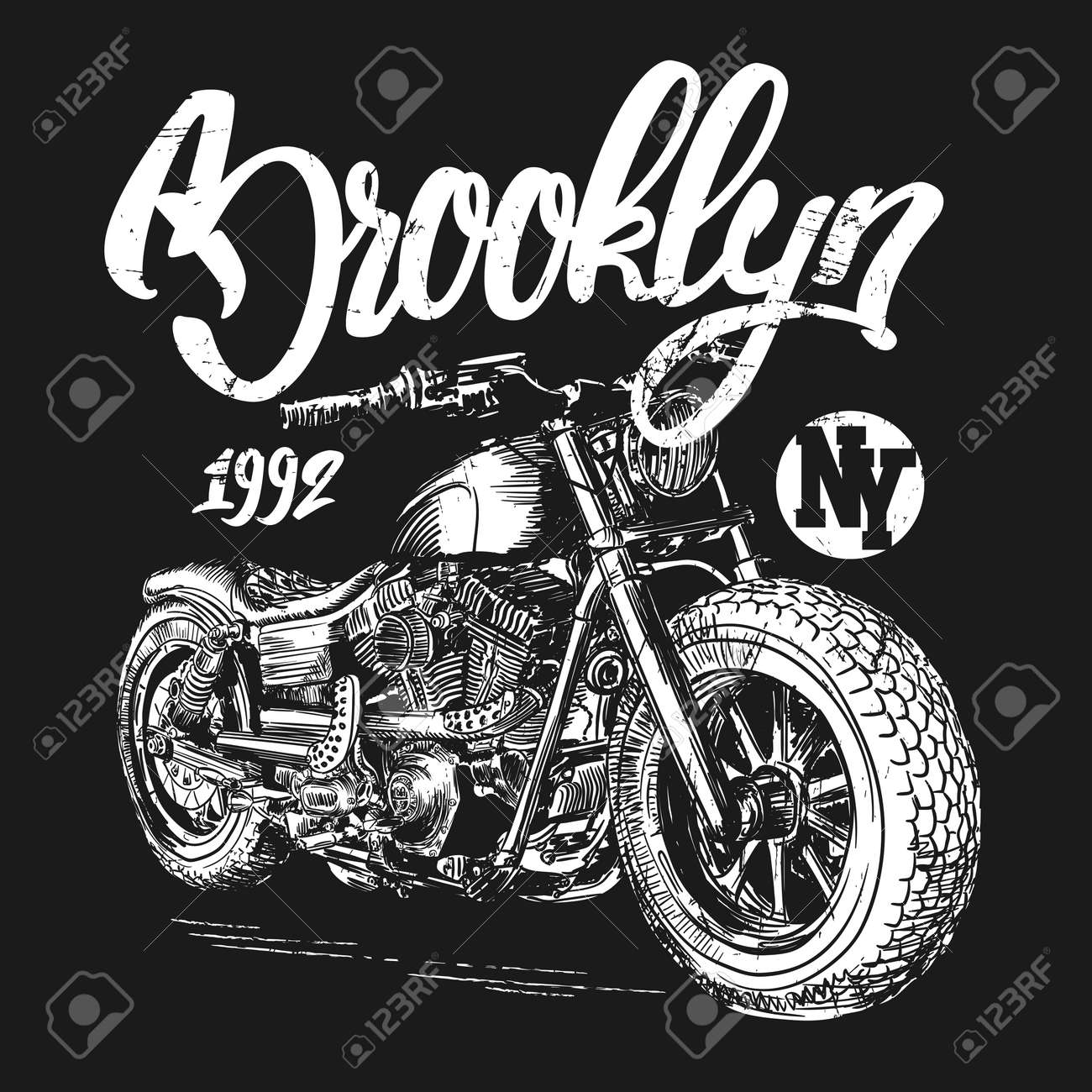brooklyn motorcycle t-shirt graphic design - 61486079