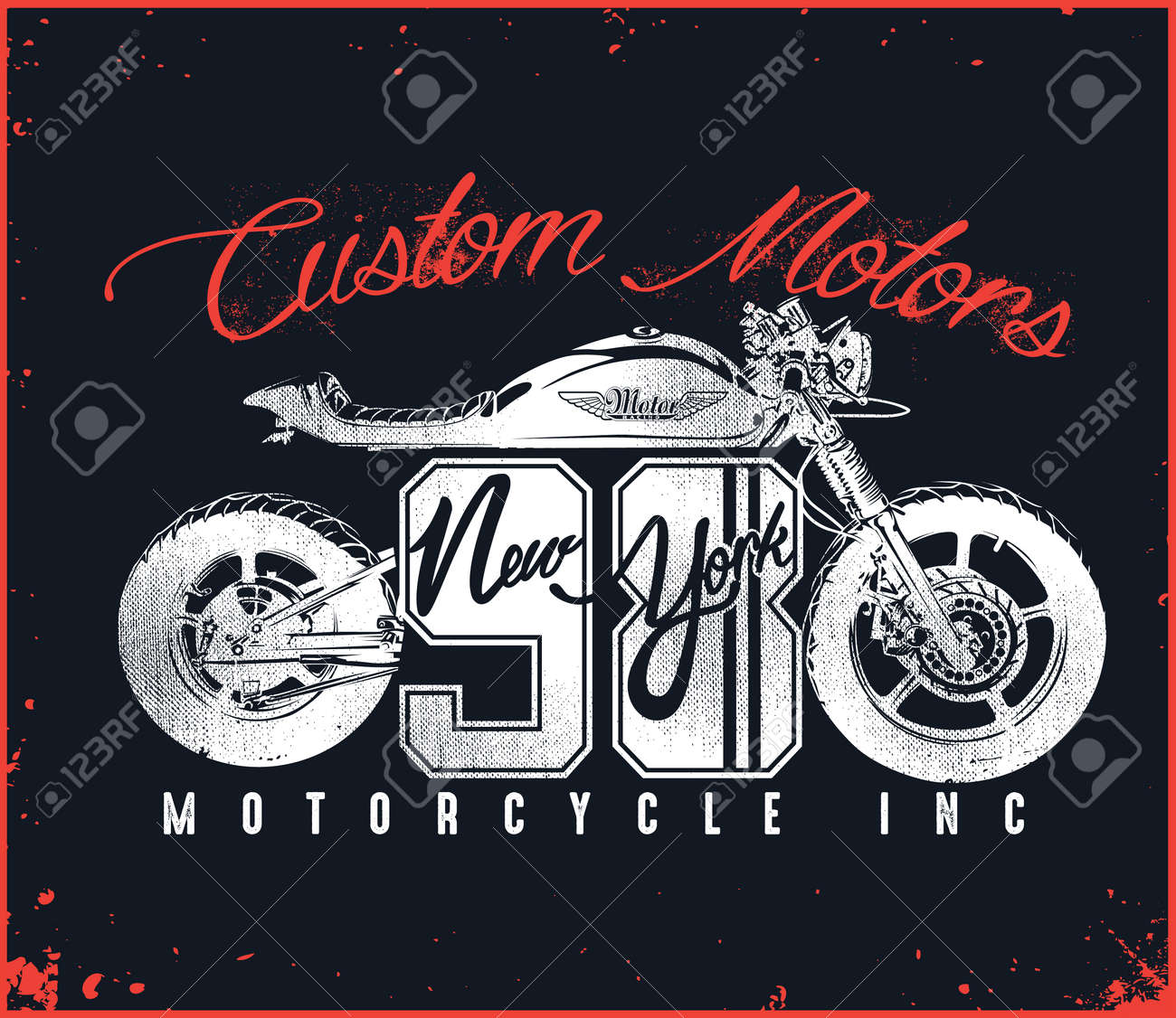 Motorcycle Custom T Shirt Design New York Royalty Free Cliparts