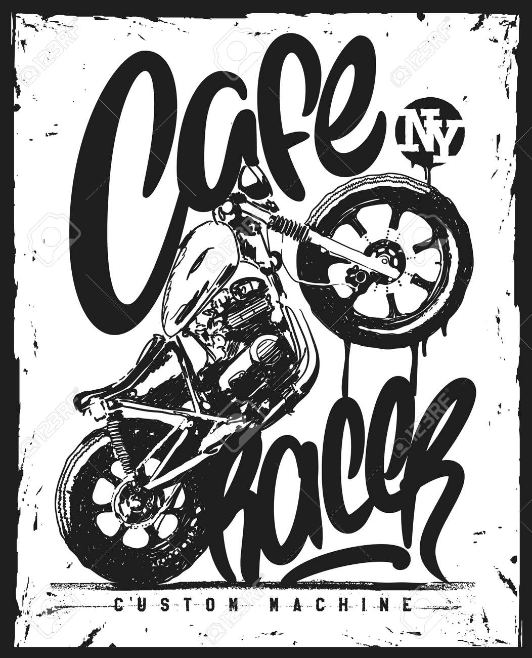 Cafe Racer Vintage Motorcycle Hand Drawn T Shirt Print Royalty Free
