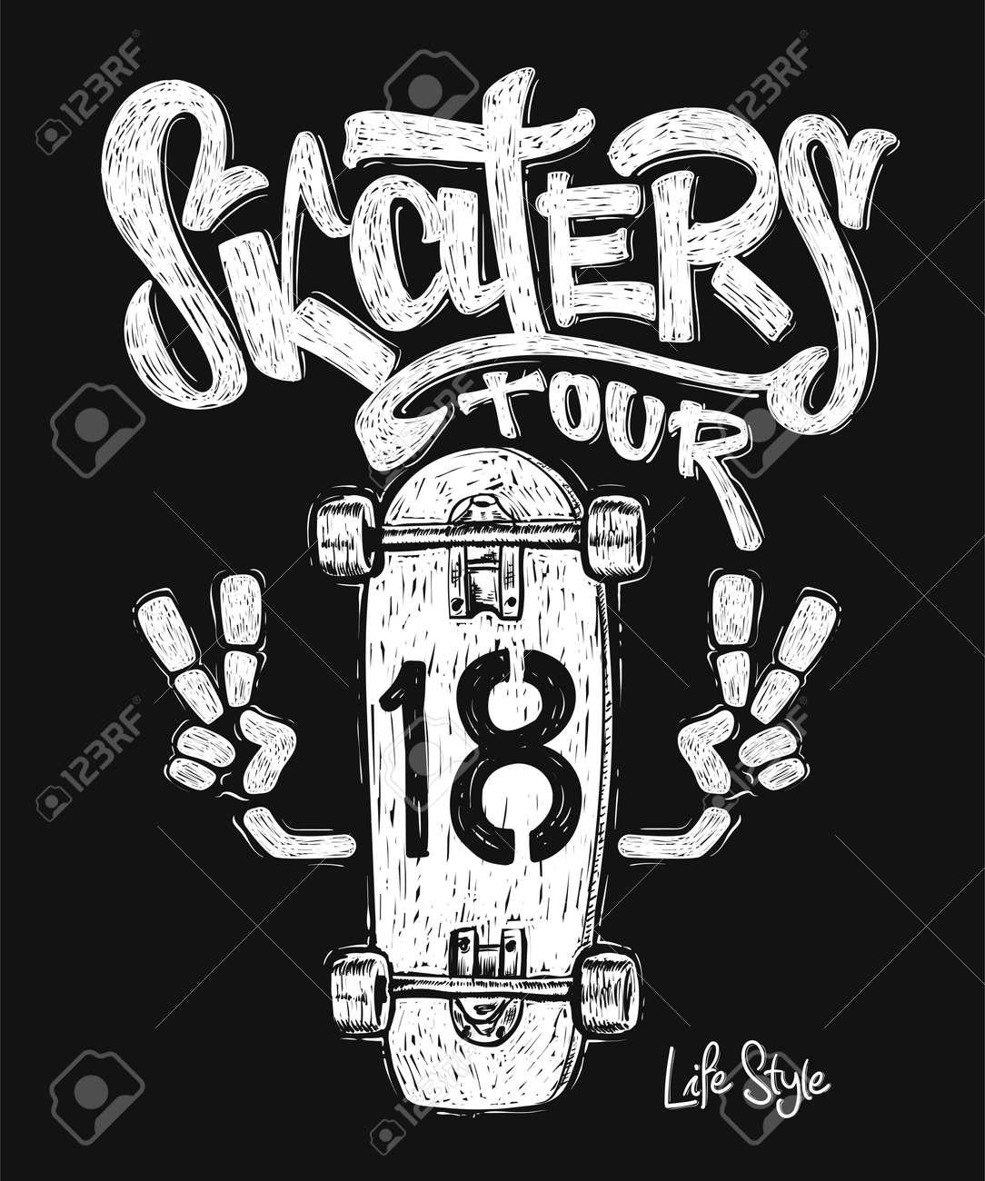 Skateboard Graphic T Shirt Design Royalty Free Cliparts Vectors