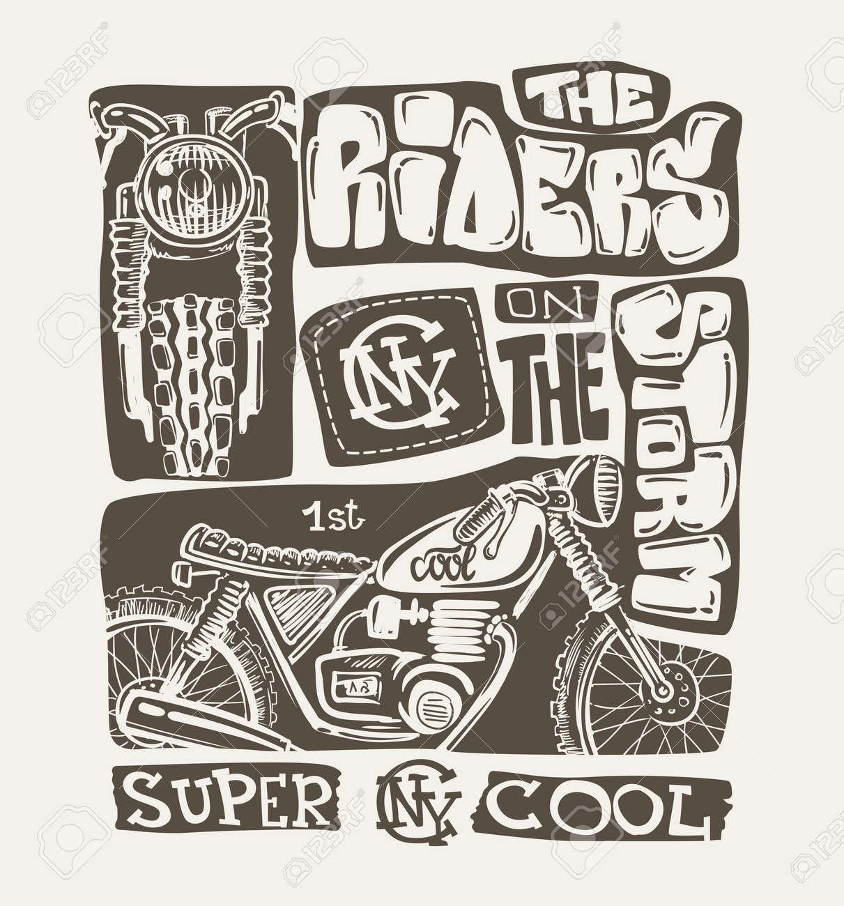 Cool Motorcycle T Shirt Print Design Vector Illustration