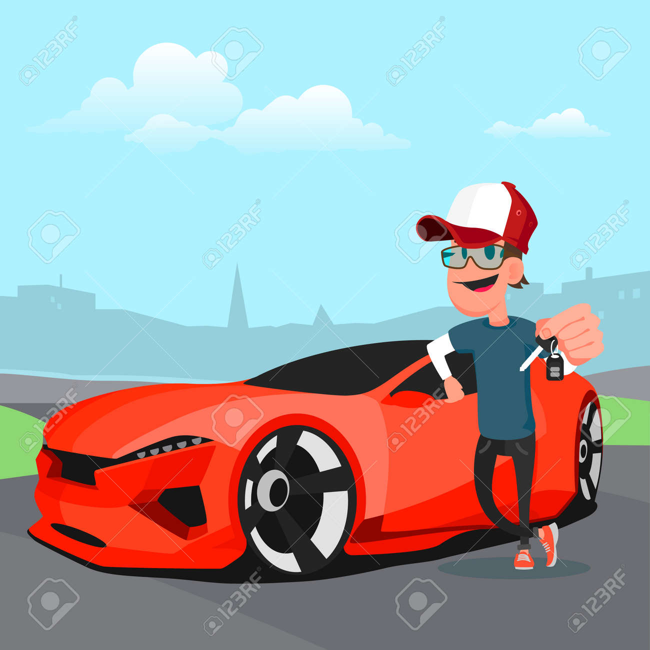 Man In Cap Holding The Key Of A New Red Sports Car Cartoon Vector