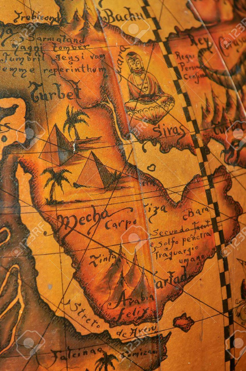 old map of arab countries middle east stock photo 16840462