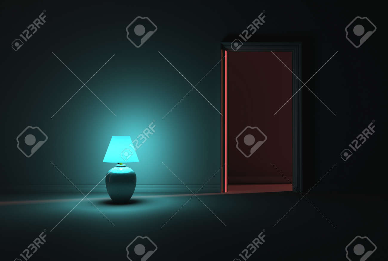 A Dark Room Lit With A Solo Turquoise Lamp Next To An Open Door