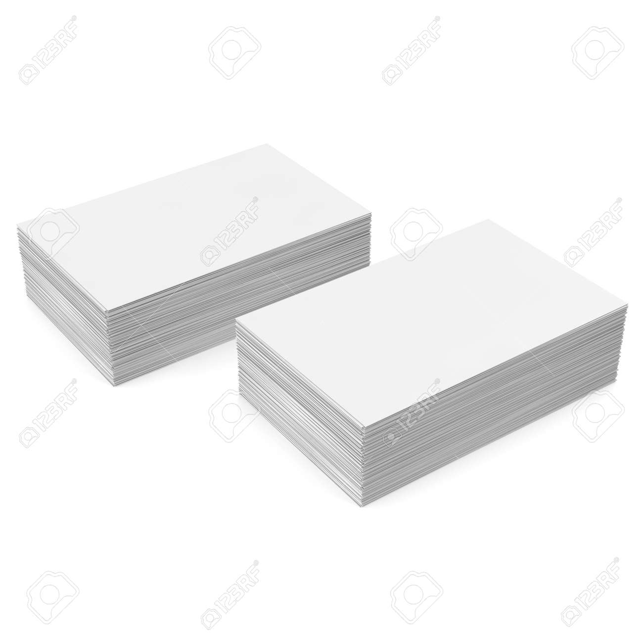 Stack White Business Card Mockup On White Background. 3d ...