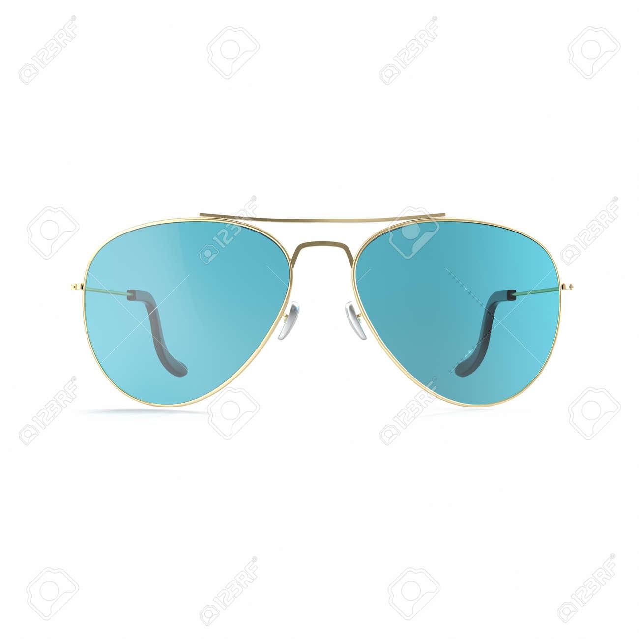 muy agradable primera vista como comprar Gafas de sol gafas azules aisladas sobre fondo blanco. Ilustración 3d