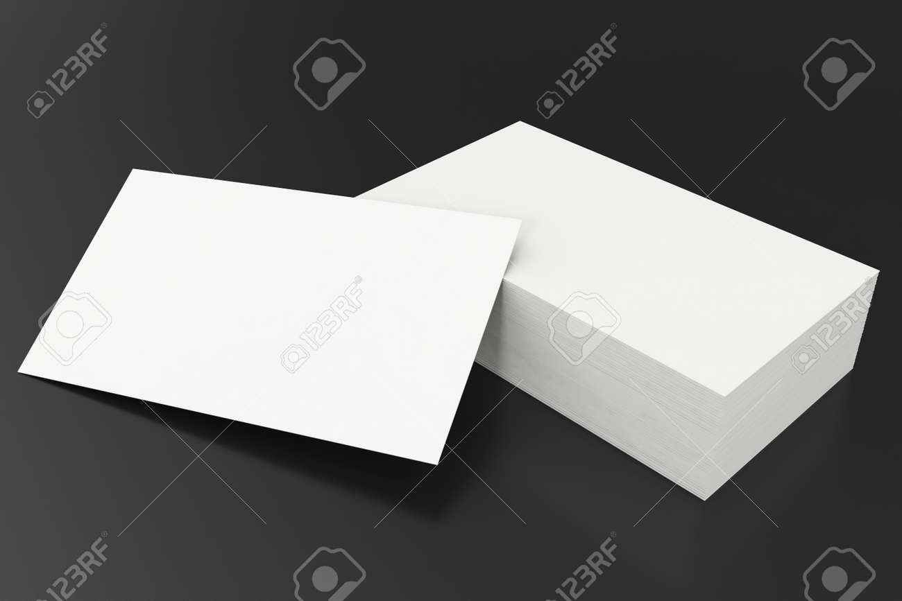 Business Cards Blank Mockup Template On Balck Background 3d