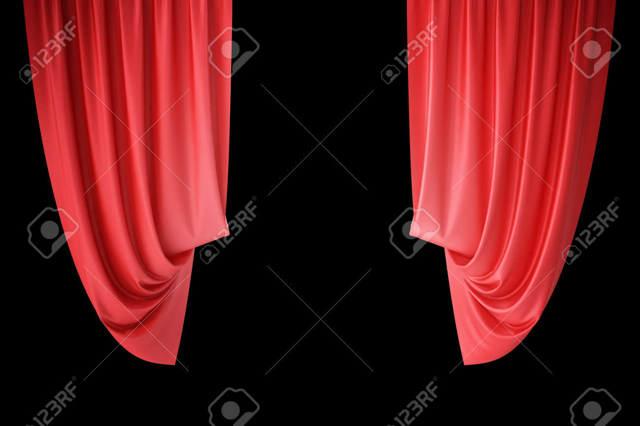 Red Velvet Stage Curtains Scarlet Theatre Drapery Silk Classical Theater Curtain