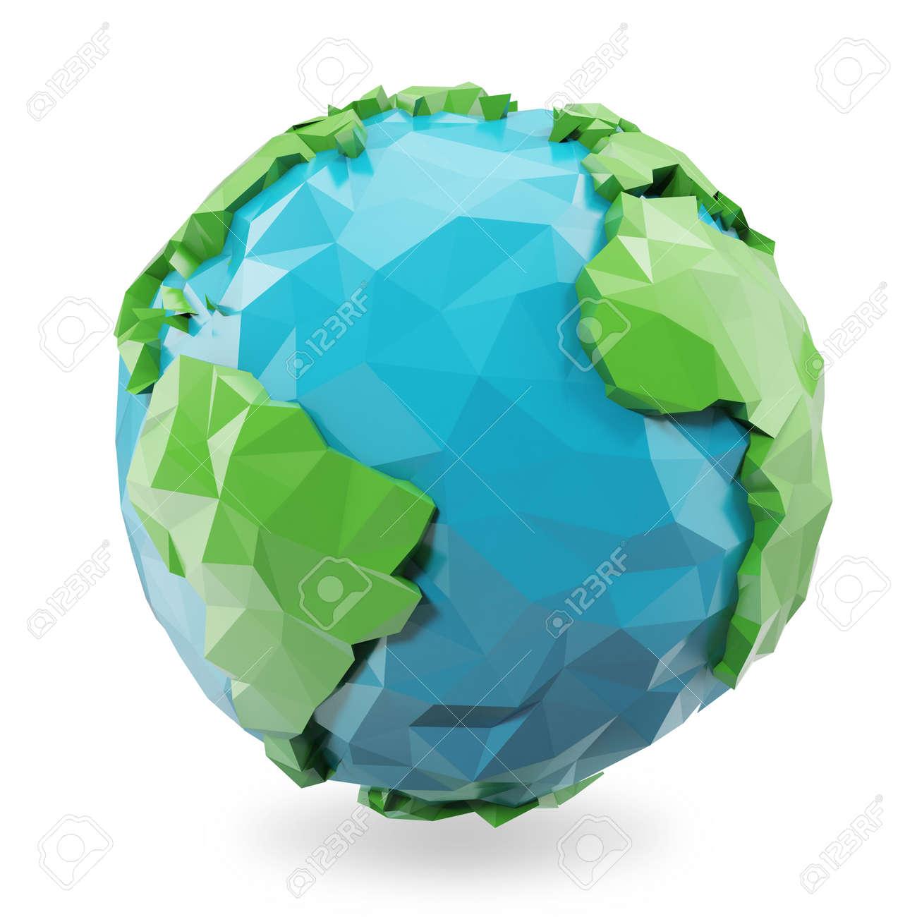 3d rendering low poly earth globe illustration polygonal globe