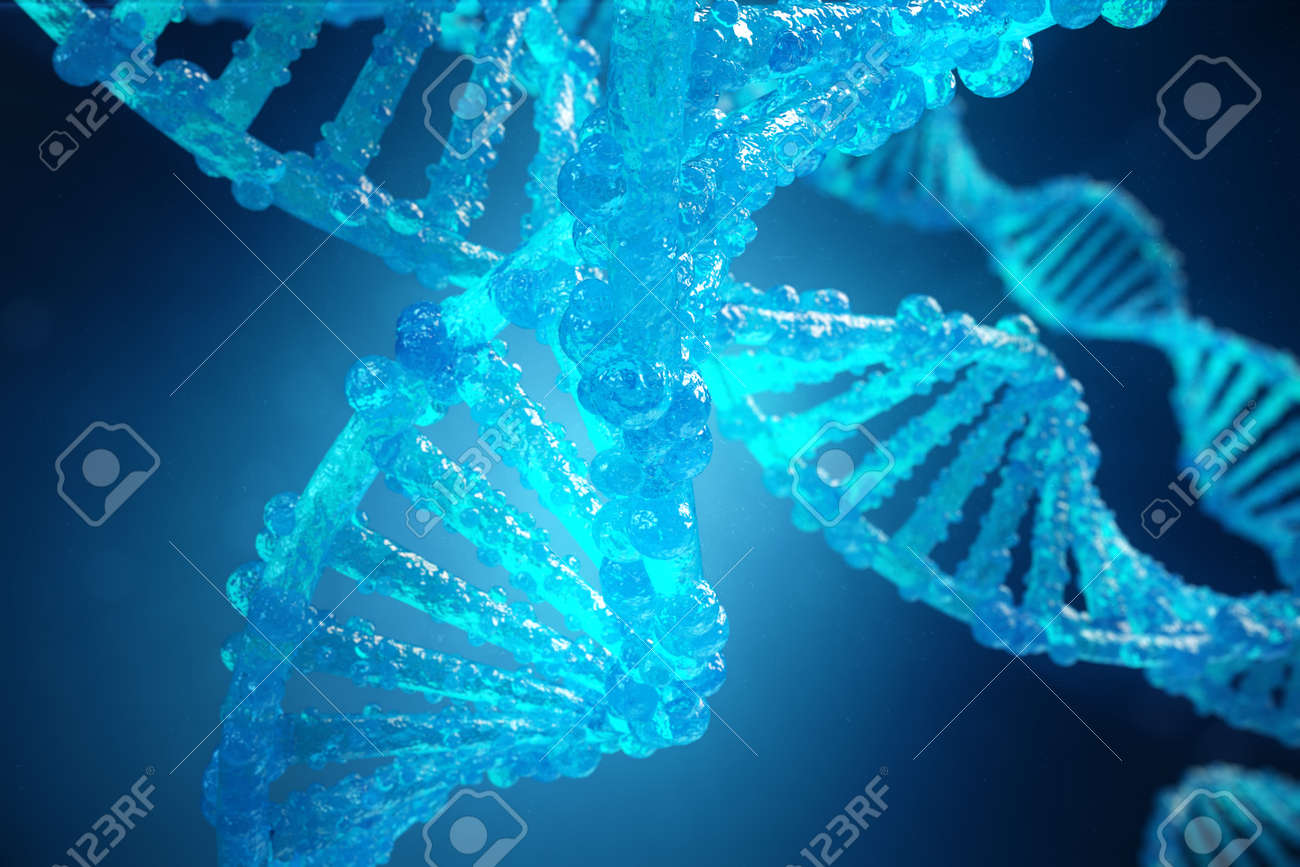 3D Illustration Helix DNA molecule with modified genes. Correcting mutation by genetic engineering. Concept Molecular genetics - 93317079