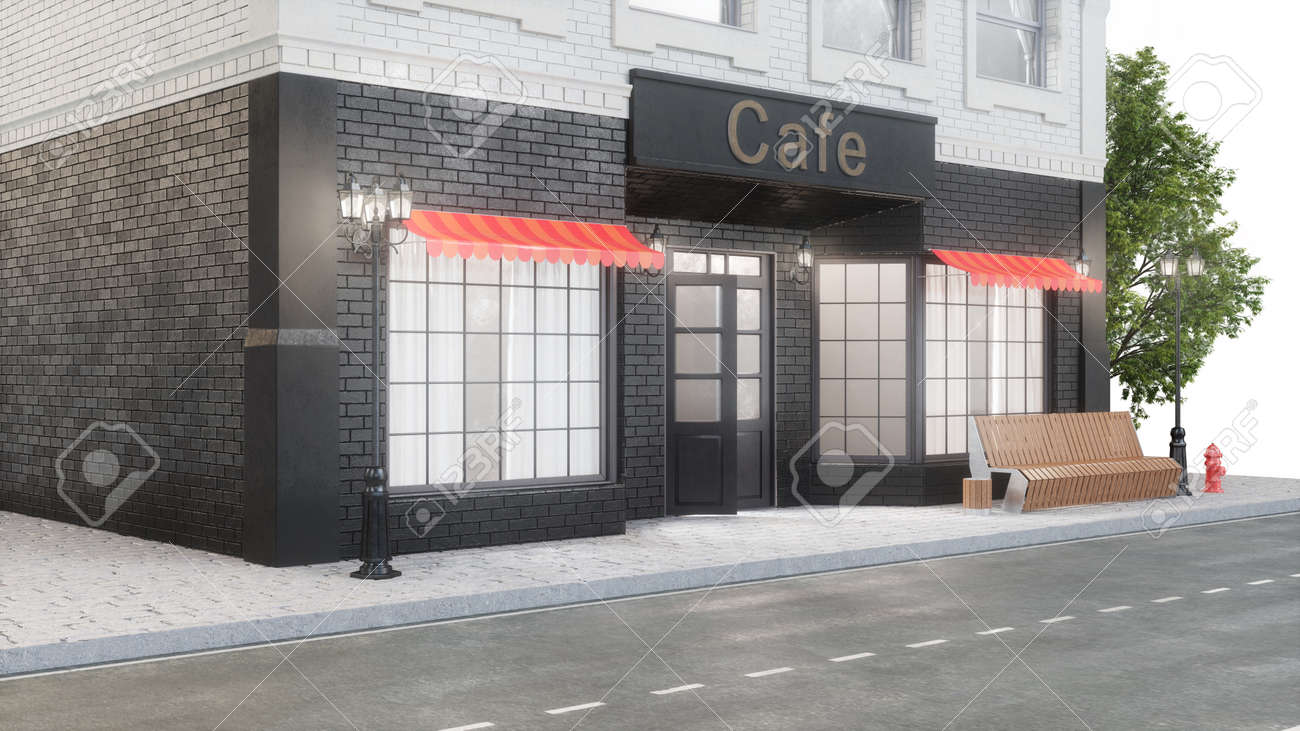 Cafe Or Coffee Shop Exterior Of A Building Near The Road The Stock Photo Picture And Royalty Free Image Image 141855310
