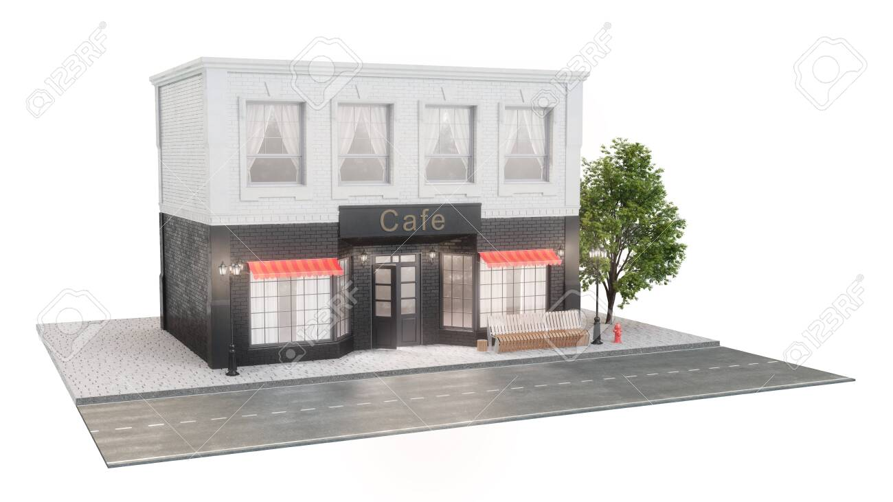 Cafe Or Coffee Shop Exterior Of A Building Near The Road On Stock Photo Picture And Royalty Free Image Image 141826360