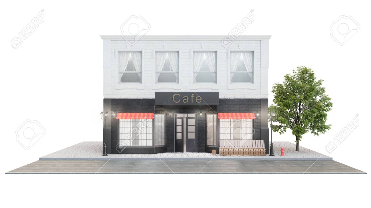 Cafe Or Coffee Shop Exterior Of A Building Near The Road On Stock Photo Picture And Royalty Free Image Image 141826389
