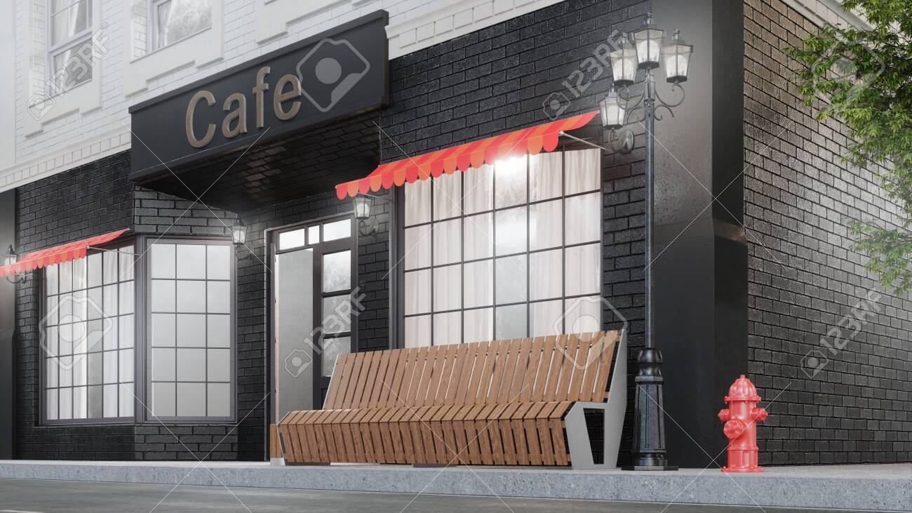 Cafe Or Coffee Shop Exterior Of A Building Near The Road On Stock Photo Picture And Royalty Free Image Image 141826471
