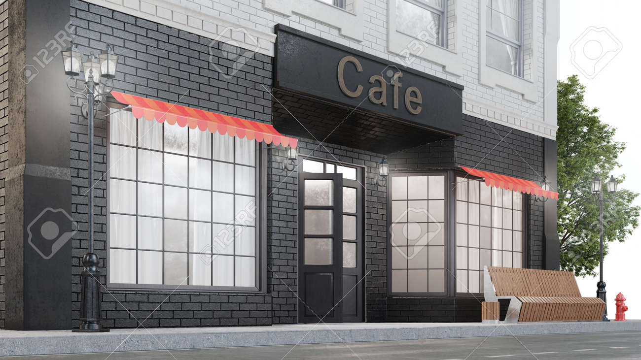 Cafe Or Coffee Shop Exterior Of A Building Near The Road On Stock Photo Picture And Royalty Free Image Image 141826397