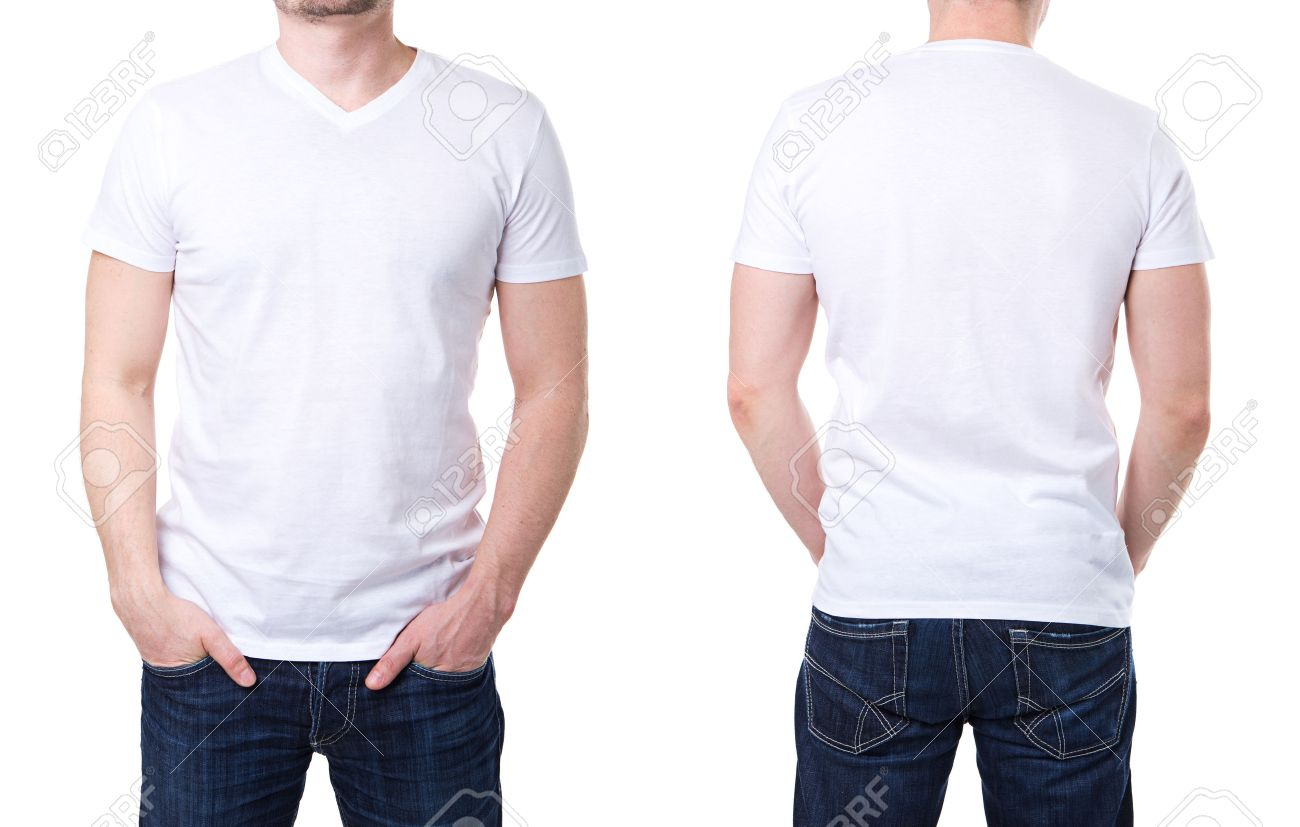 white t shirt on a young man template on white background stock