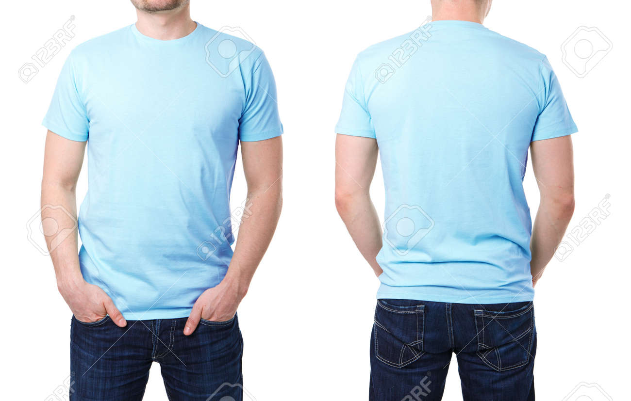 Blue T Shirt On A Young Man Template White Background Stock Photo