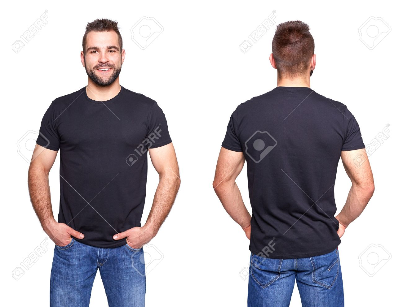 Black t shirt and jeans - Jeans And Black Shirt Black T Shirt On A Young Man Template On White Background