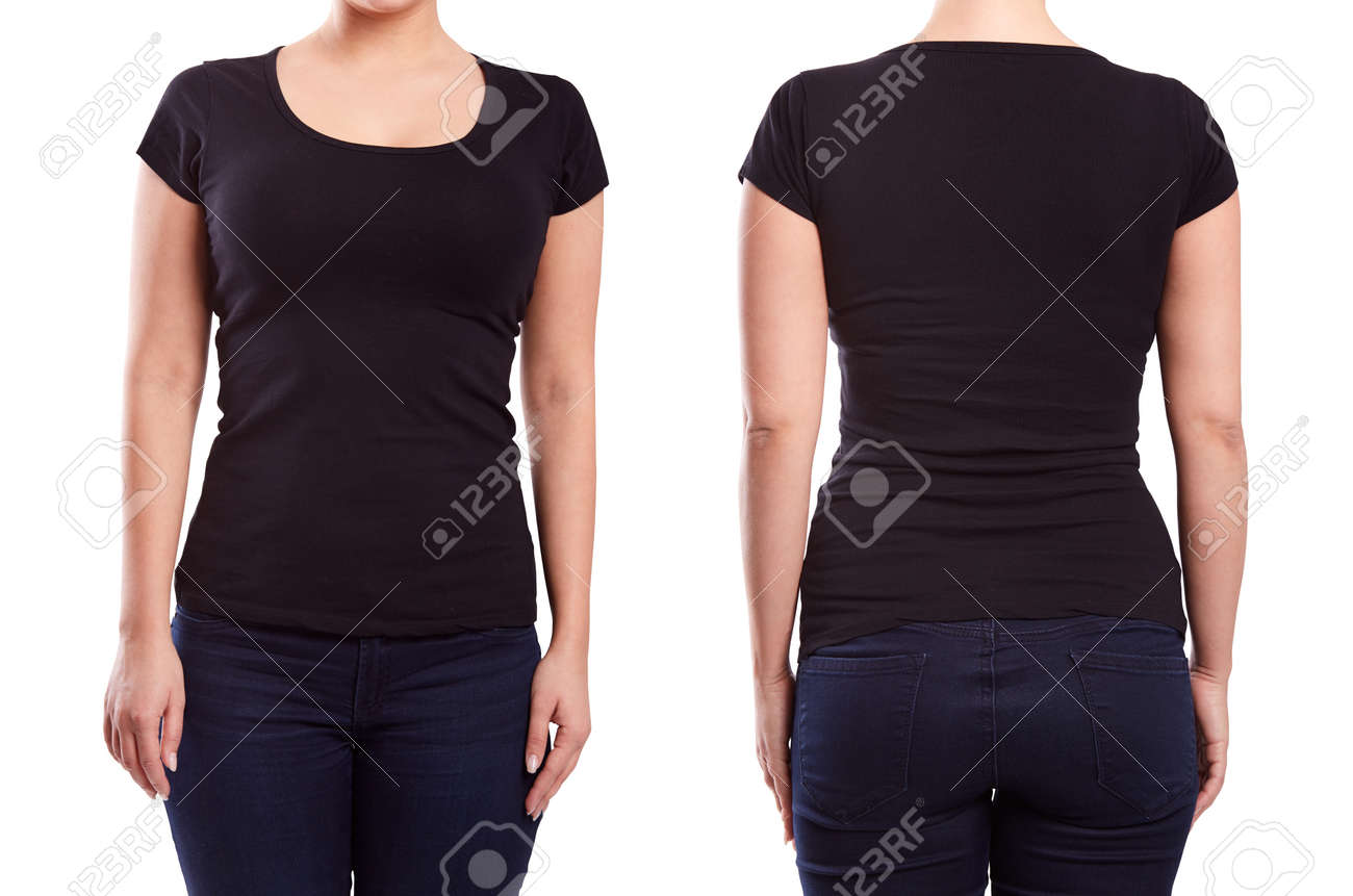 Black t shirt model template - Black Tshirt On A Young Woman Template On White Background Stock Photo 38744875