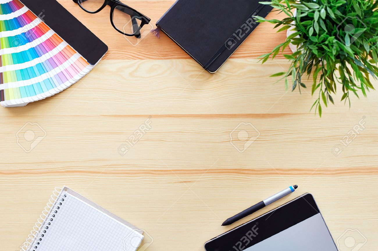 graphic design desk top view of work desk graphic designer stock photo - Graphic Design Desks