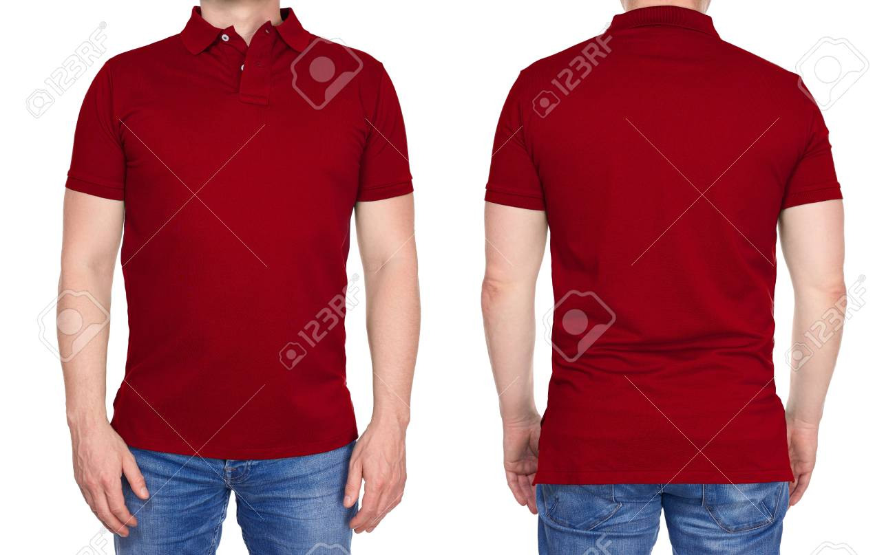T Shirt Design Young Man In Blank Dark Red Polo Shirt From Stock