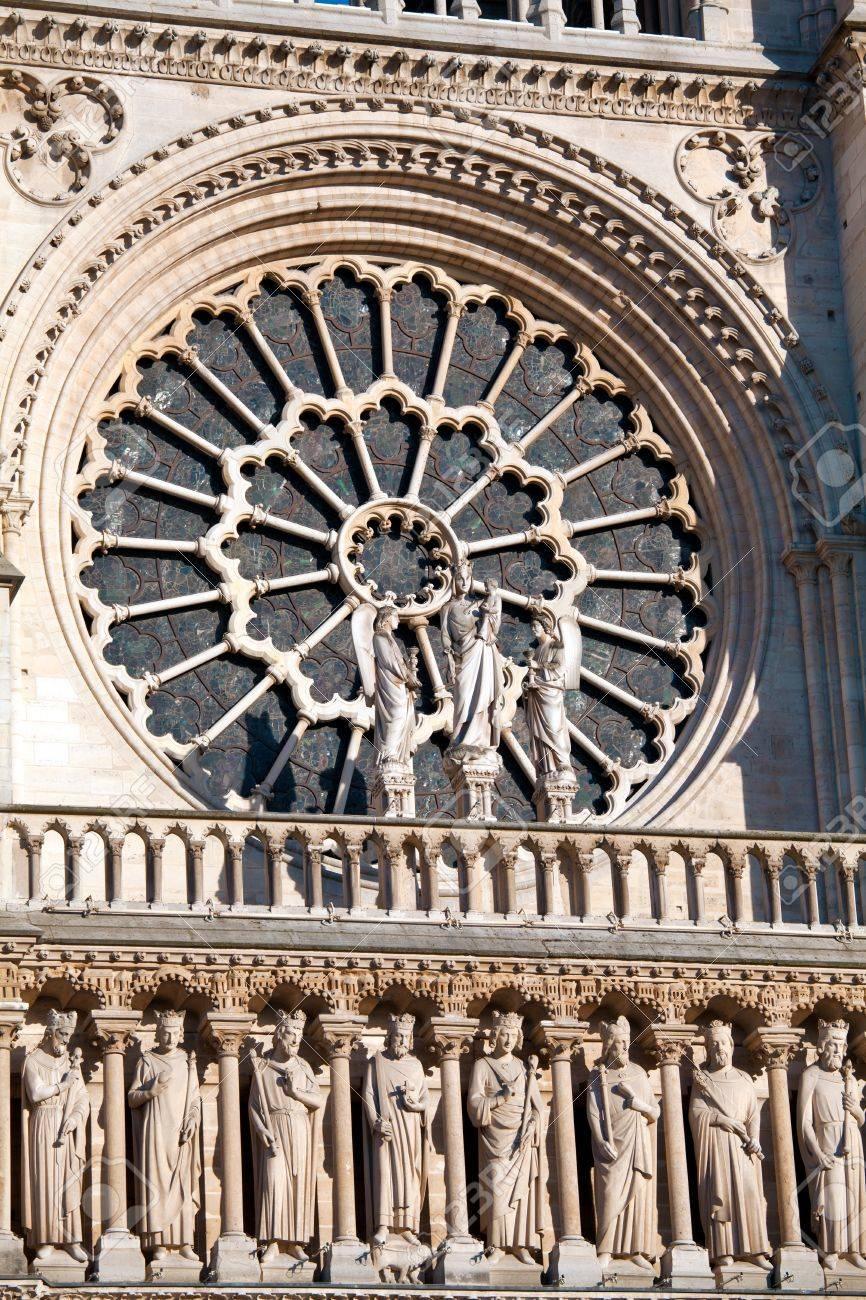Fenêtre Ronde De La Façade Ouest La Cathédrale Notre Dame De Paris