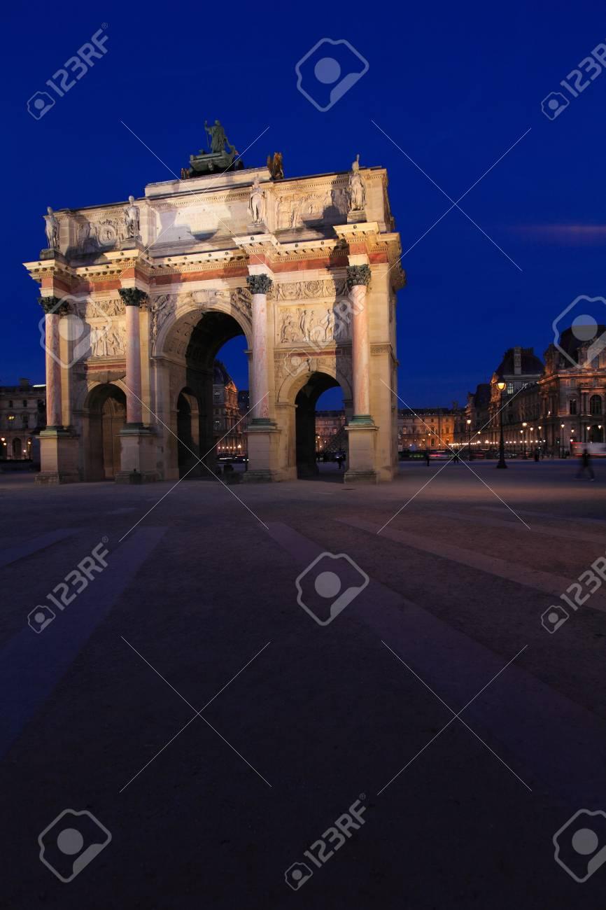 Night view of Arc de Triomphe du Carrousel (1806-1808), designed by Charles Percier, Paris, France Stock Photo - 10379087