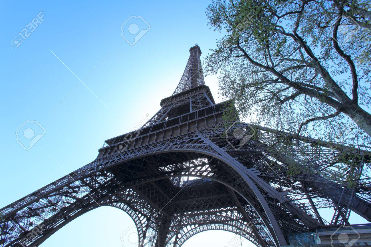 Wide-angle upward view of Eiffel Tower, Paris, France Stock Photo - 10427508