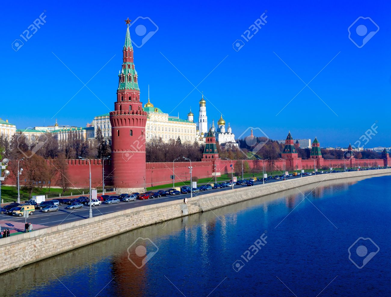 Landscape of Moscow Kremlin with Palace and Cathedrals near Moskva River, Russia Stock Photo - 15840455