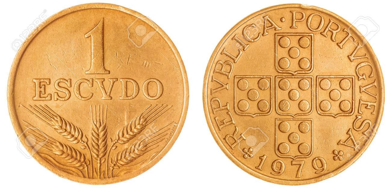 Bronze 1 Escudo 1979 Münze Isoliert Auf Weißem Hintergrund Portugal
