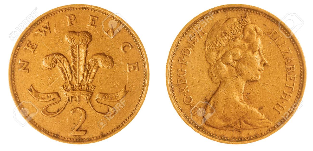 Bronze 2 Pence 1971 Münze Isoliert Auf Weißem Hintergrund