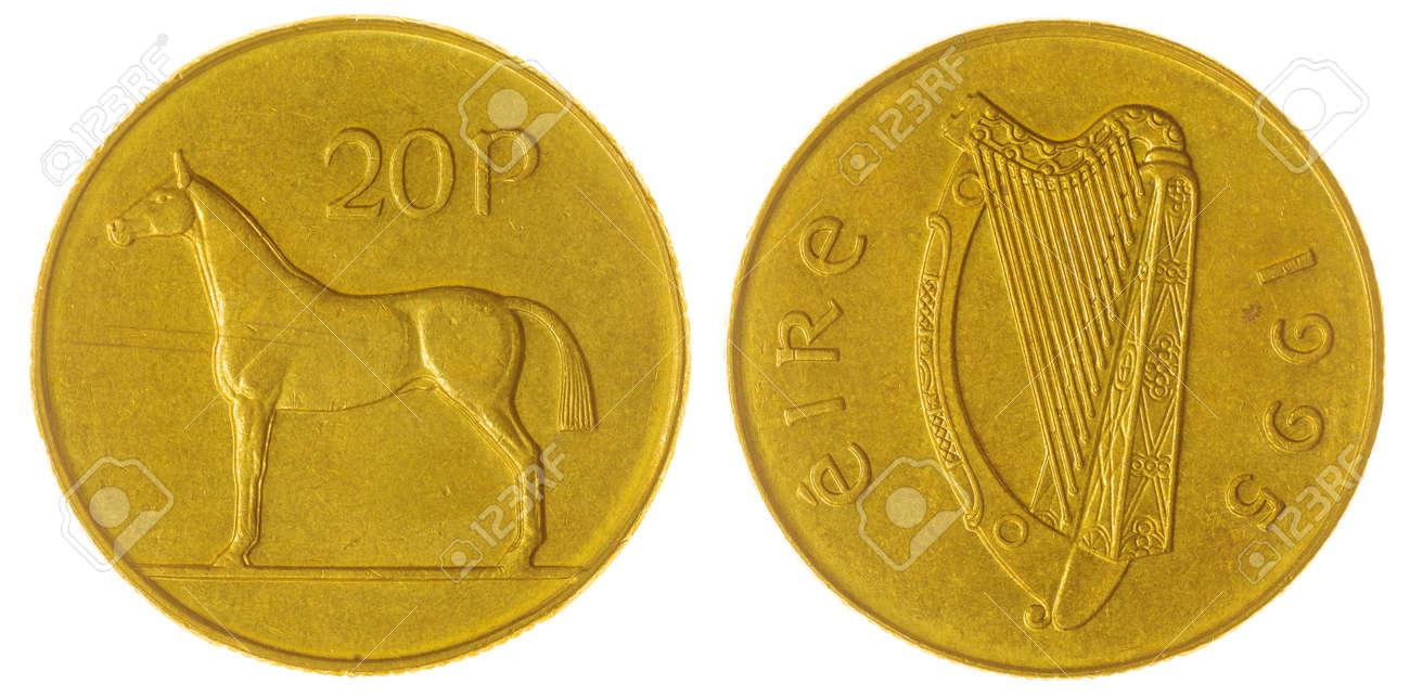 Nickel Bronze 20 Pence 1995 Münze Isoliert Auf Weißem Hintergrund