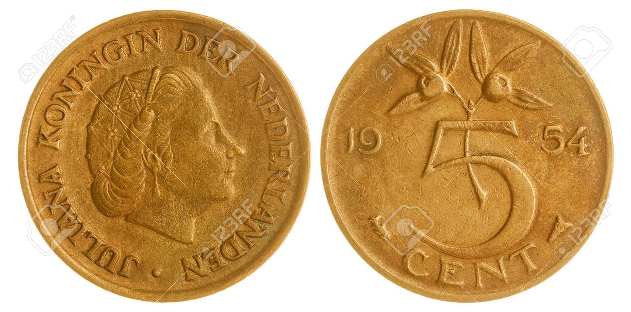 Bronze 5 Cent 1954 Münze Lokalisiert Auf Weißem Hintergrund Die
