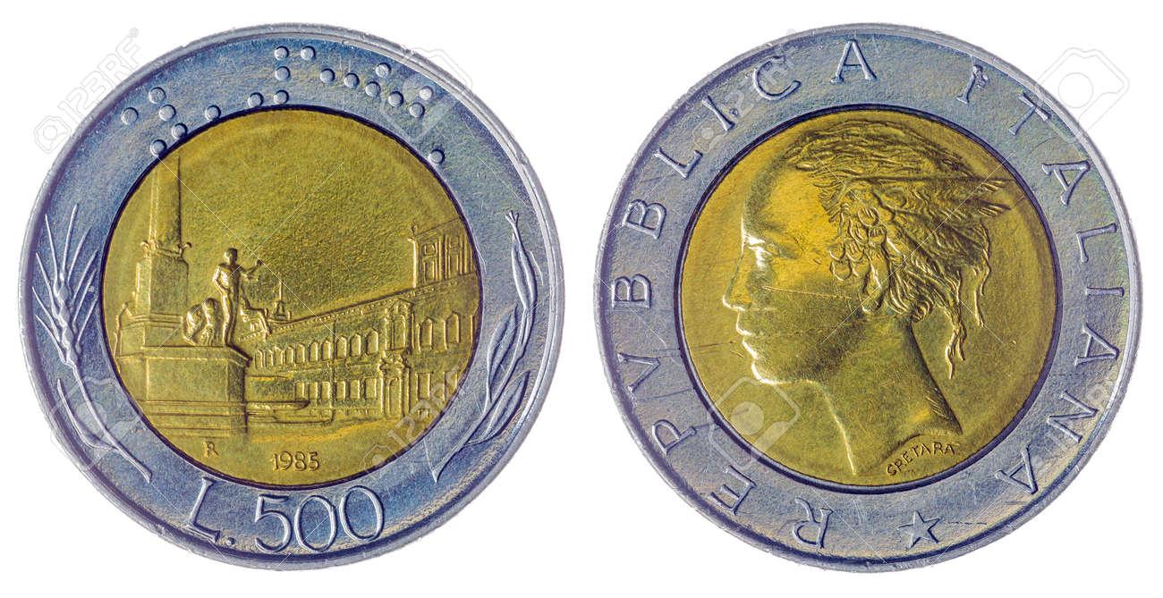 Bi Metallic 500 Lire 1985 Münze Auf Weißem Hintergrund Italien