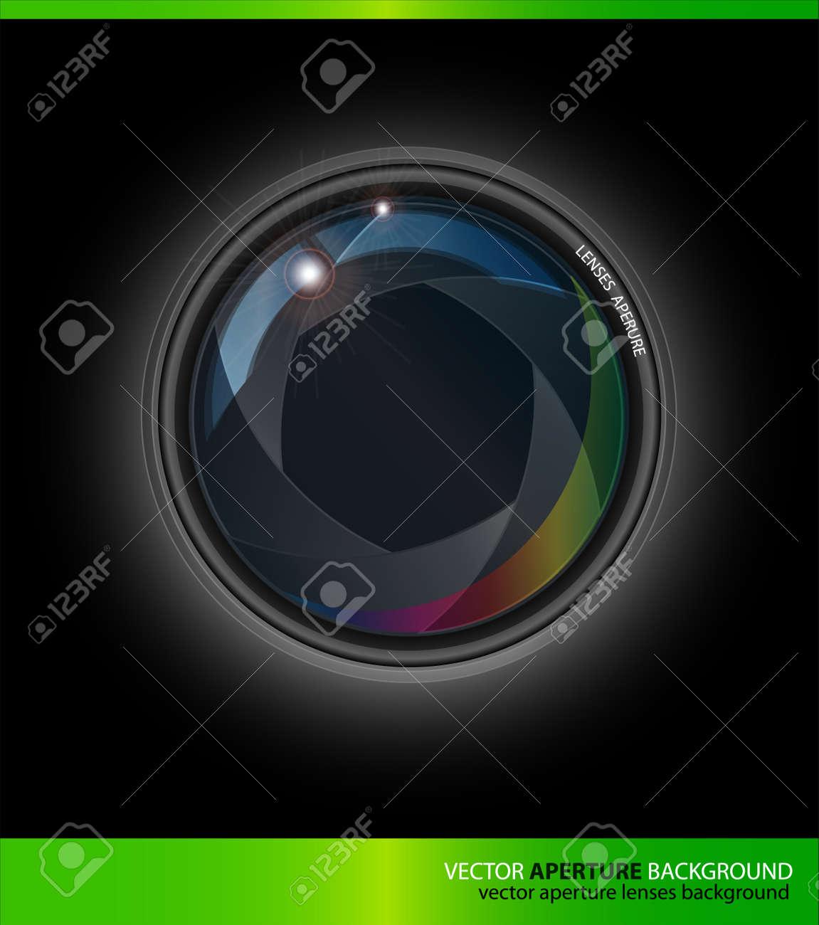 Vector Lenses Aperture on a Black Background Stock Vector - 10540415
