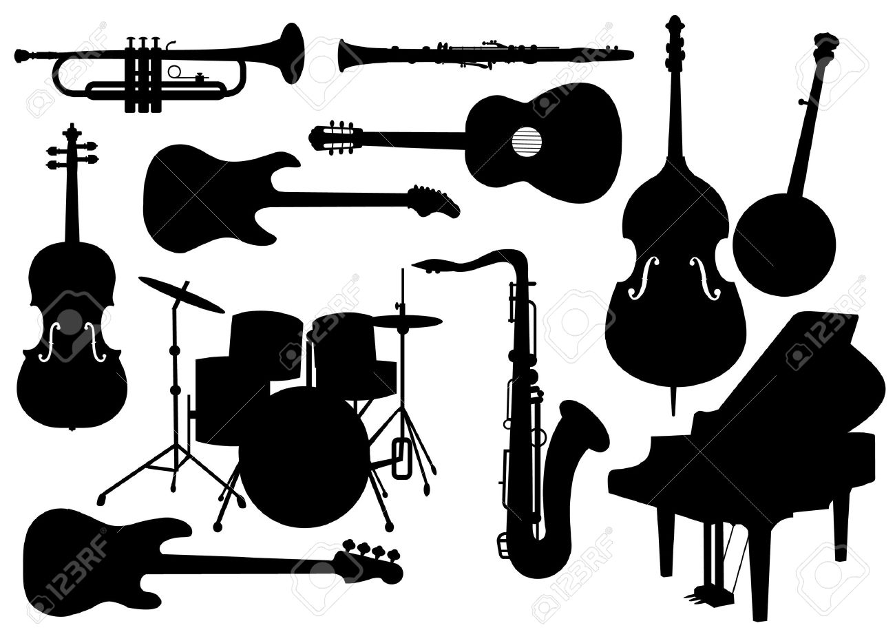 Vector Set Of Musical Instruments Isolated Silhouettes Stock Vector - 10540407