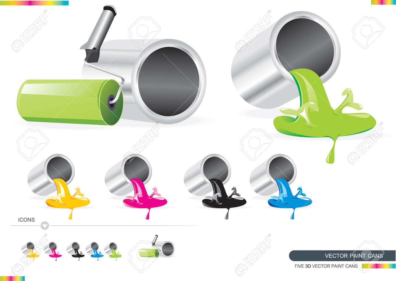 Five 3D paint cans Stock Vector - 10576703