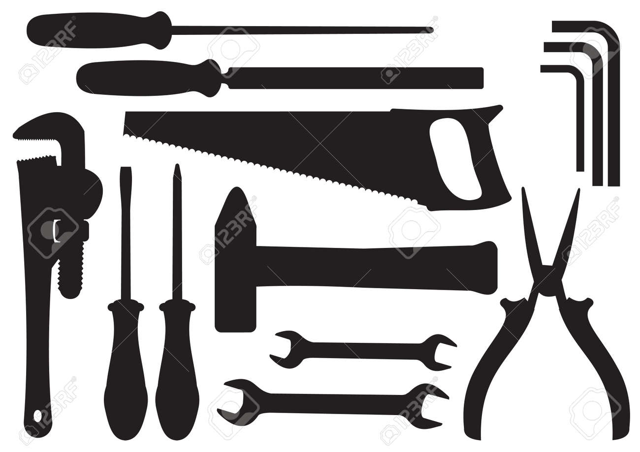 black silhouettes of hand tools kit royalty free cliparts vectors rh 123rf com Cartoon Tools Cartoon Tools