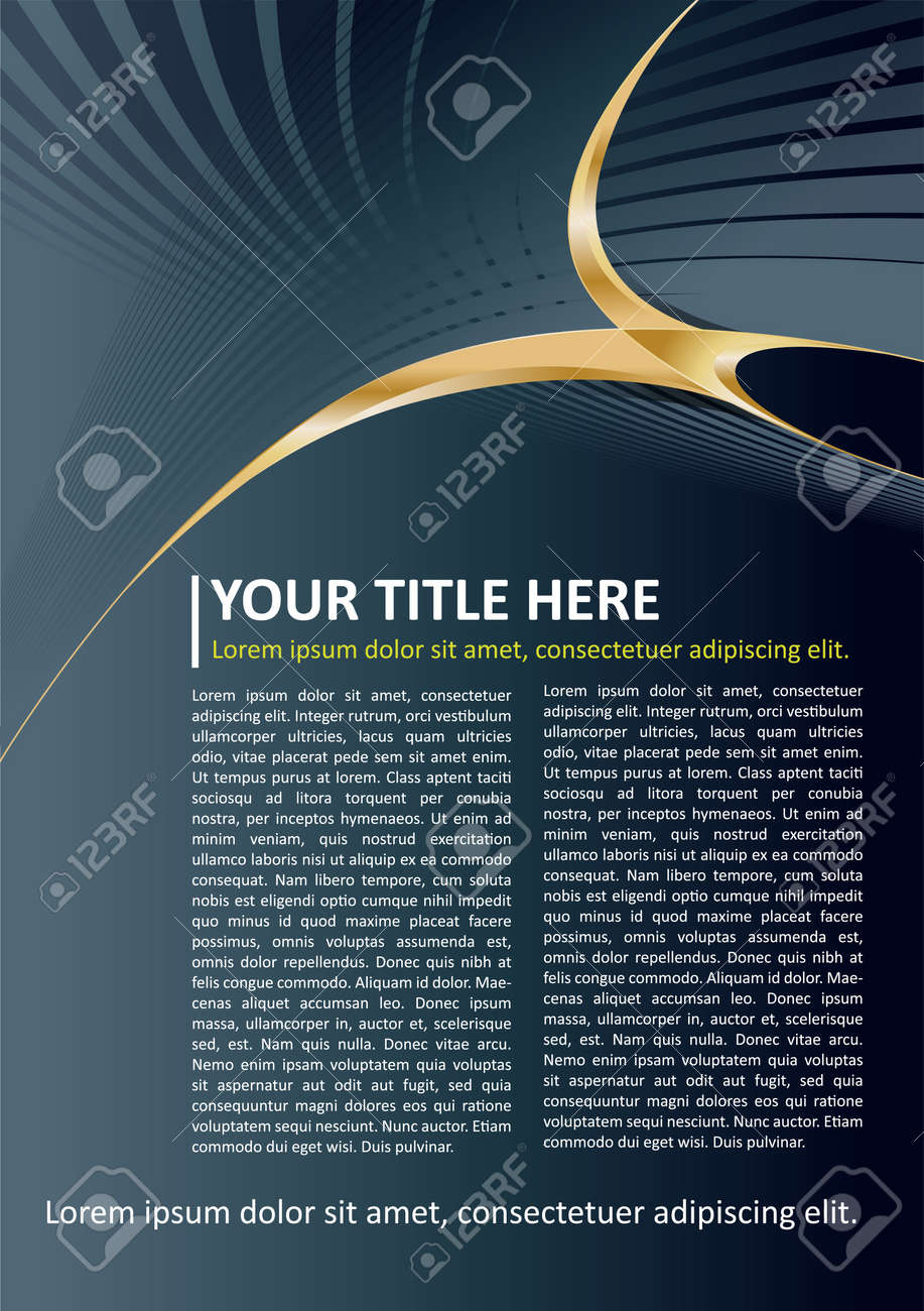 Dark Vector Brochure and Poster Background with gold elements Stock Vector - 12420901