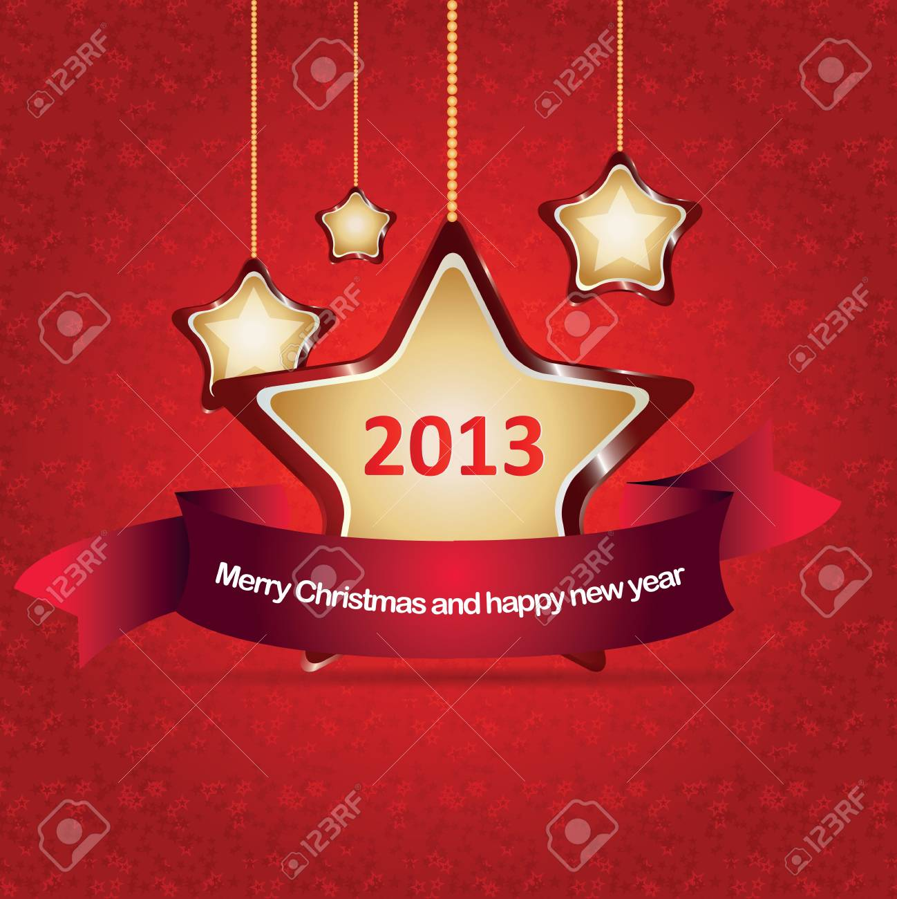 Abstract red vector christmas background with stars Stock Vector - 16686443