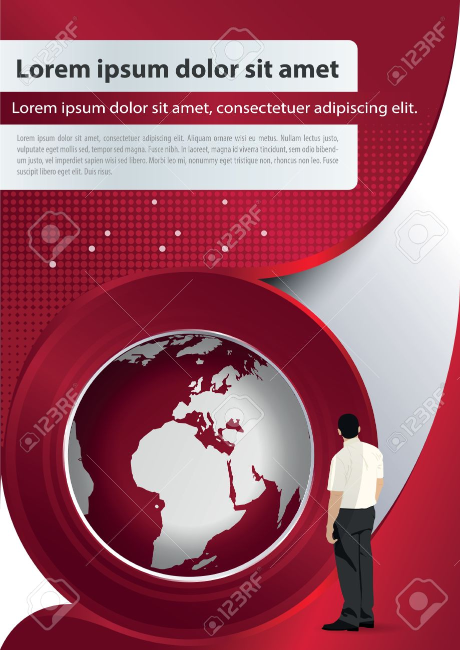 red brochure background with globe and manager royalty free cliparts