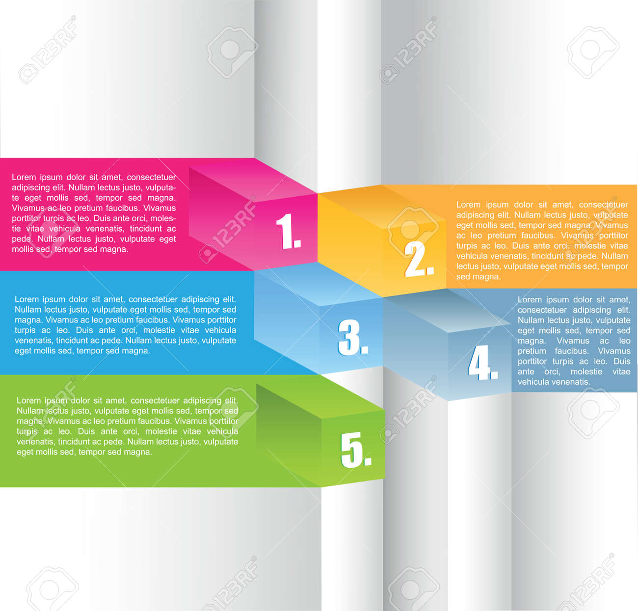 Abstract color cubes background with five position Stock Vector - 17020810