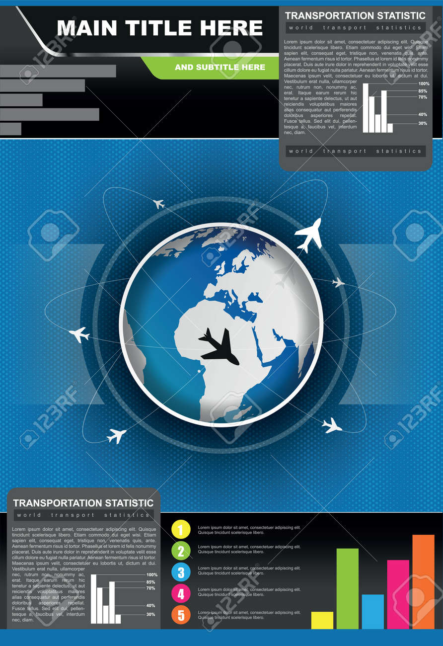 statistic brochure background with planes flying around the globe Stock Vector - 17500792