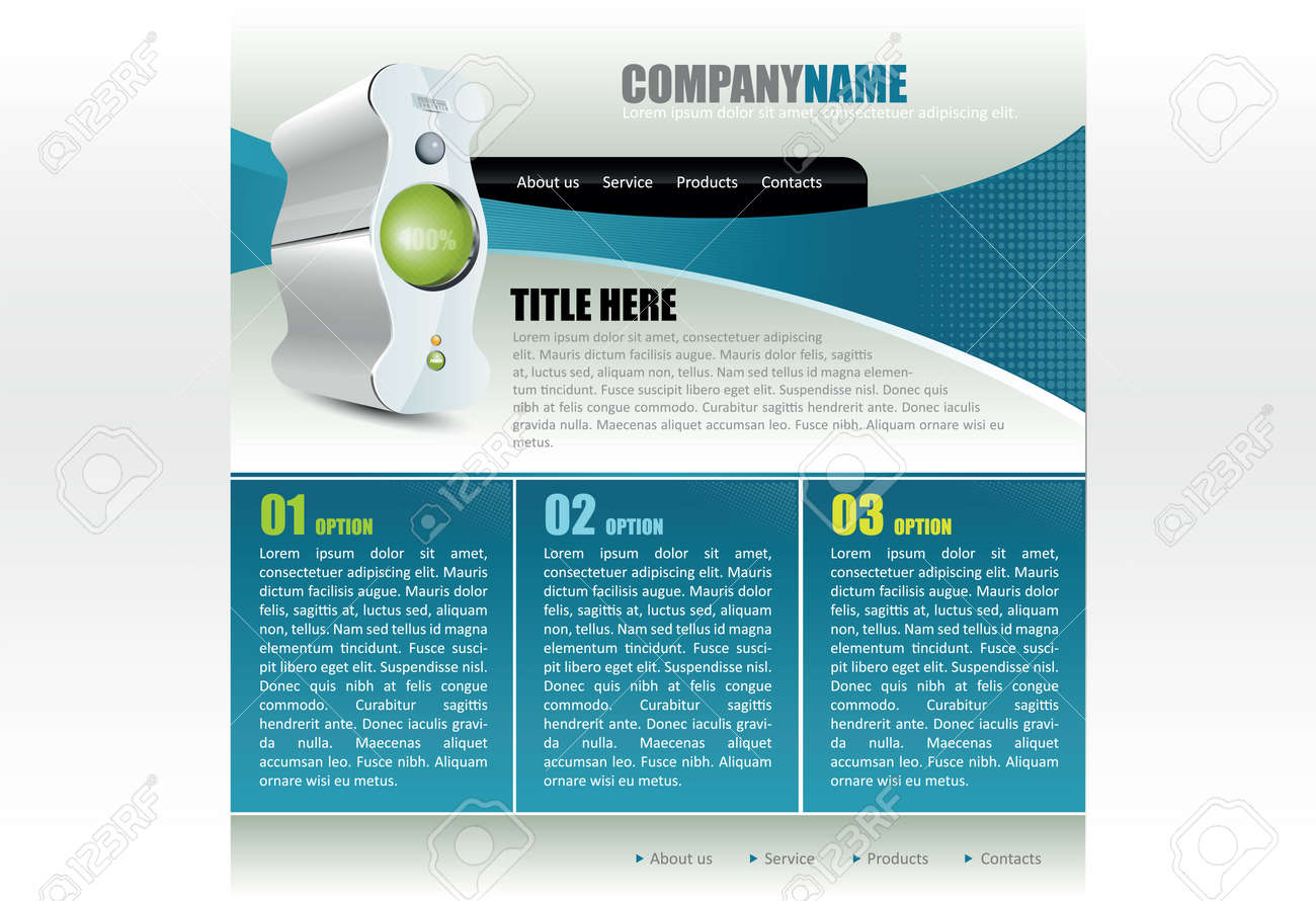 Moderne Blaue Website Vorlage Für Computer-Firma Lizenzfrei Nutzbare ...